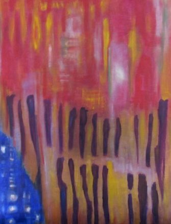 oil painting abstract scene of figures and flashing lights art for poem Peeled