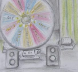 Pastel drawing of prize wheel