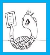 Cartoon of tapeworm using cell phone