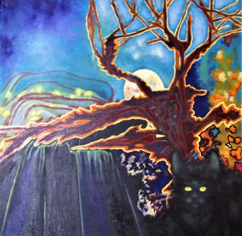 Oil painting moon tree black cat
