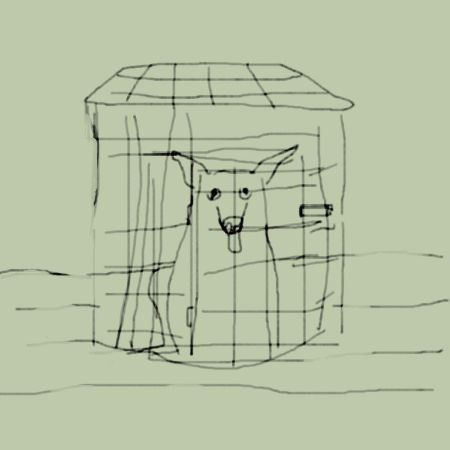Digital drawing dog in cage while room floods