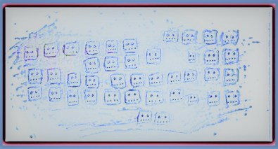 stylized drawing computer keyboard with faces on keys art for poem The Lab-Grown Brain Makes a Prose Poem