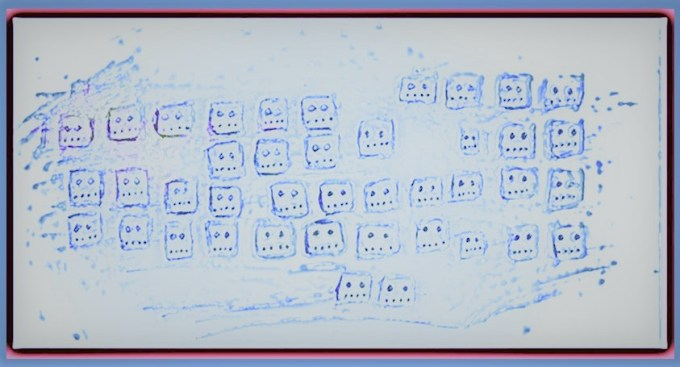 Stylized drawing computer keys with faces