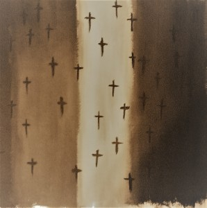 tempera painting of sepia-toned flag with dark brown crosses art for poem Narrowing the Path