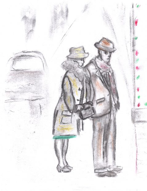 Pastel drawing of 1930s couple looking in store window
