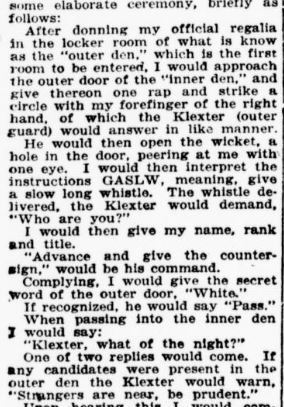 Newspaper clipping of Klan whistling styles