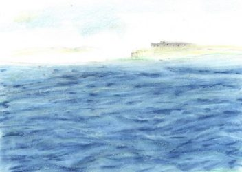 Pastel drawing of prison complex surrounded by choppy ocean waves