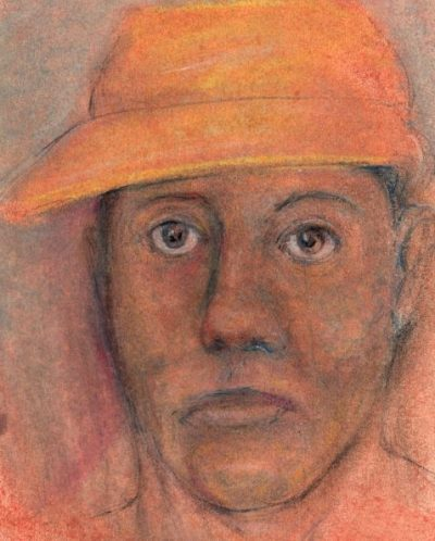 Pastel drawing of women wearing visor cap