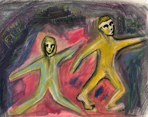 pastel drawing female and male figures posed as dolls art for poem Poppets