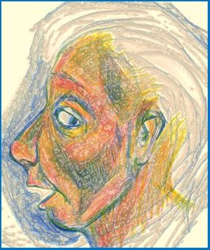 digital drawing woman looking behind her art for poem A Small Exchange