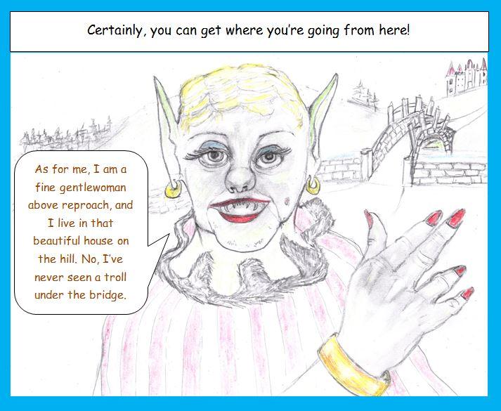 Cartoon of troll disguised at noblewoman