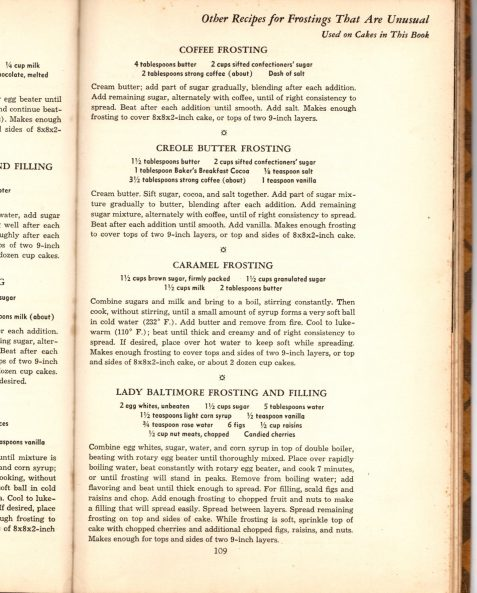 Photo of page from old-time cookbook