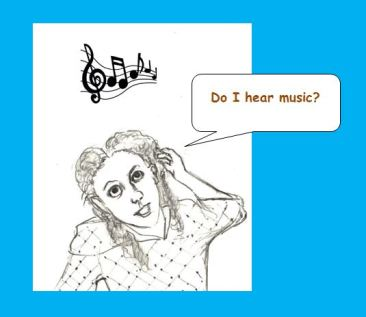 Cartoon of woman hearing music