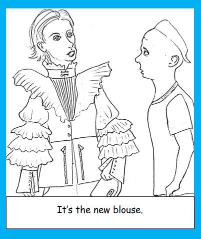 Cartoon of woman wearing new fashion