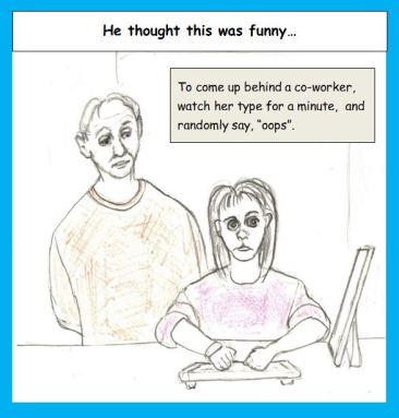 Cartoon of man bully-teasing woman