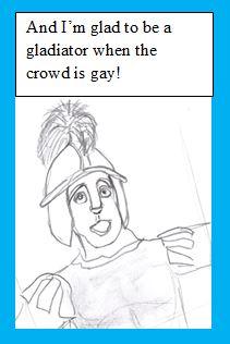 Cartoon of singing gladiator