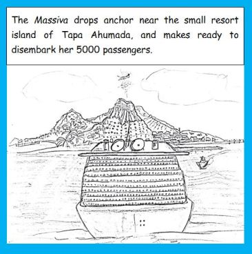 Cartoon of cruise ship