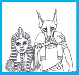 Author Page cartoon of woman pharoah and god Anubis