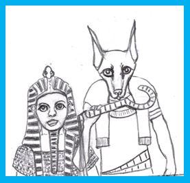 Cartoon of female pharoah and god Anubis