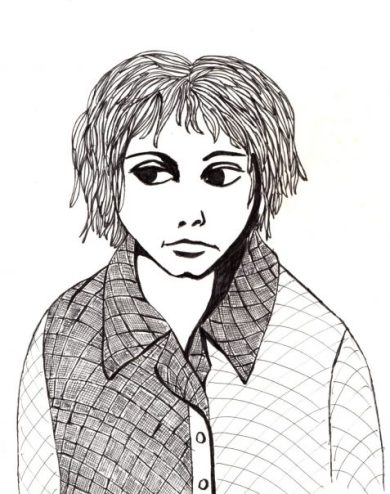 ink drawing of child-like figure in checked shirt art for poem Now Requesting Action
