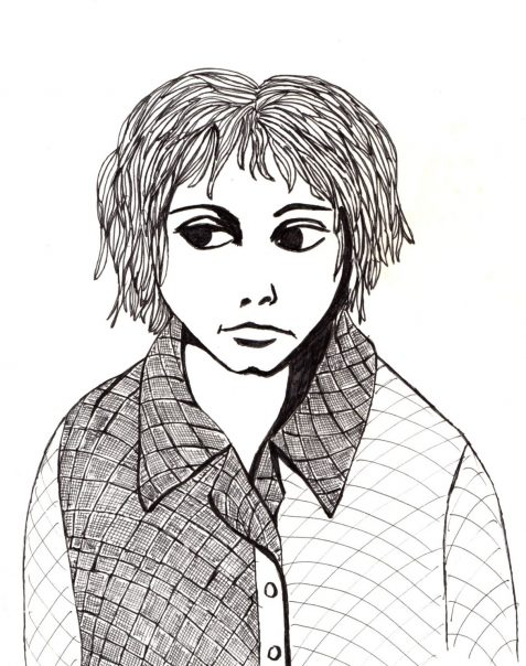 Ink drawing of child-like figure wearing checked shirt
