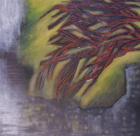 Oil painting of red tree branches over still water