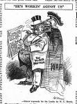 Newspaper cartoon of war profiteer and death
