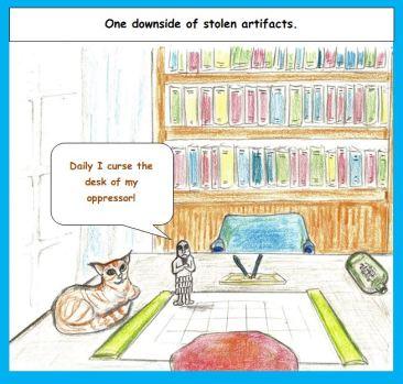 Cartoon stolen artifact vows to curse oppressor