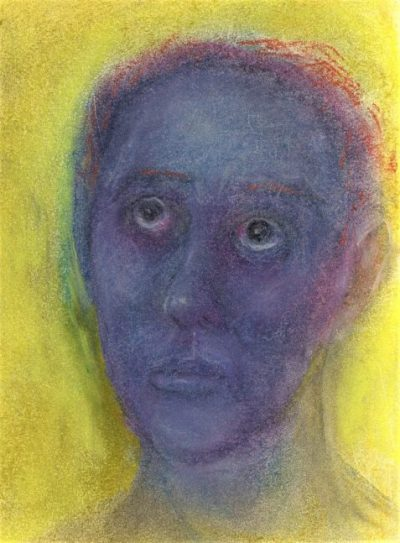 Pastel drawing of woman with blue face