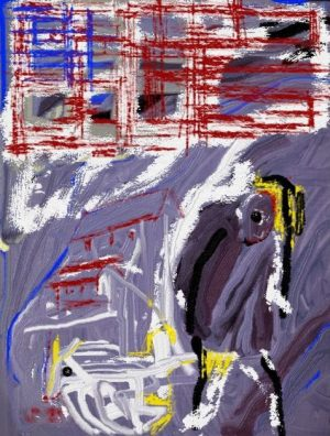 digital painting battered American flag hunched figure art for poem And Still