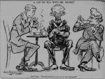 Cartoon of W. R. Hearst drinking tea with Count Bernstorff and Bolo Pacha