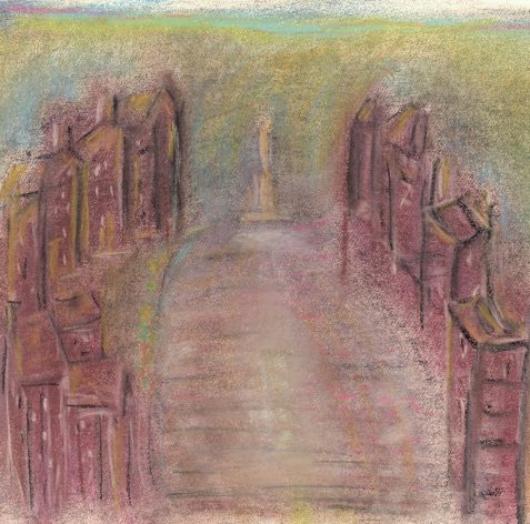 Pastel drawing of city commons with stature