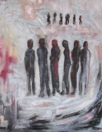 oil painting two groups of six confront each other art for poem Explication