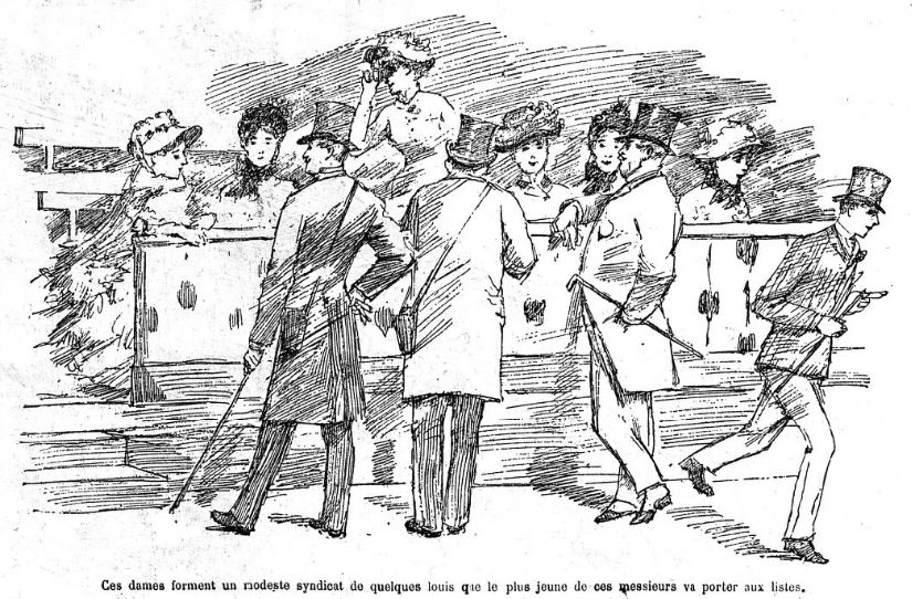 Plate illustrating French racetrack syndicate women and men