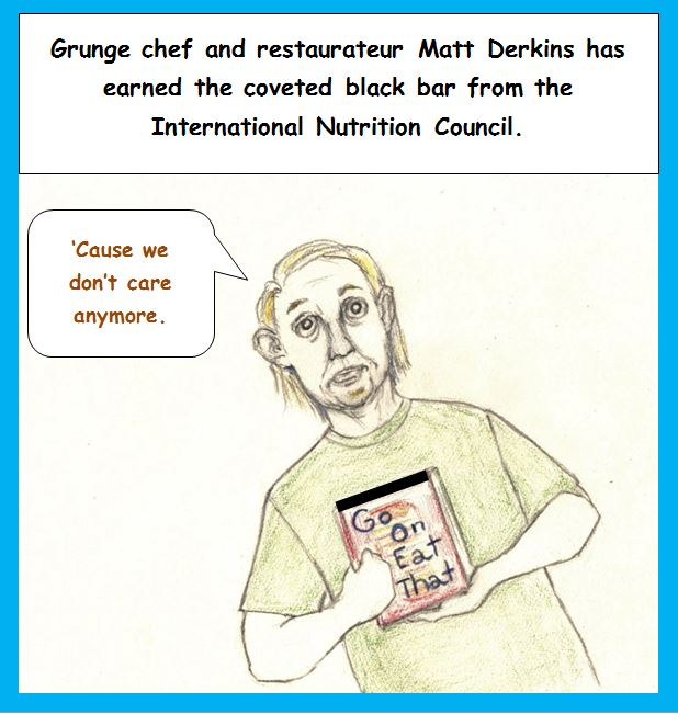 Cartoon of chef holding black-barred cookbook