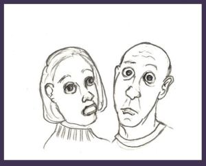 Cartoon couple feeling bewildered