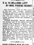 Newspaper clipping of Phoebe Hearst's will