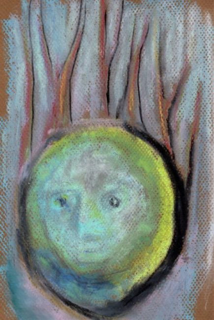 Pastel drawing of verdigris face feeling horrified