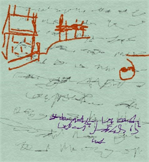 Digital drawing of notepaper with doodles of house and telegraph lines