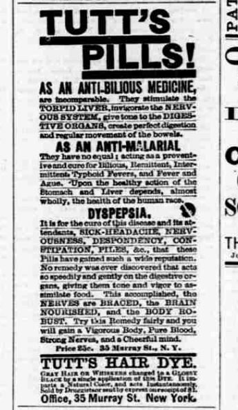 Newspaper clipping of advertisment for Tutt's Pills