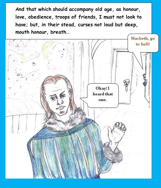 Cartoon take on Macbeth who can hear one curse