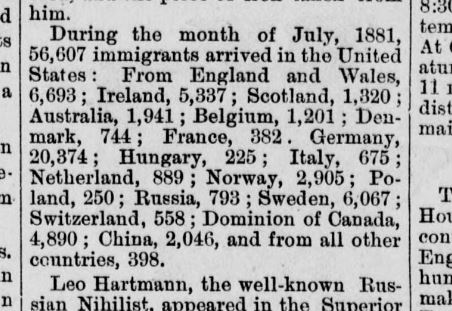 Newspaper clipping of immigration statistics from 1881