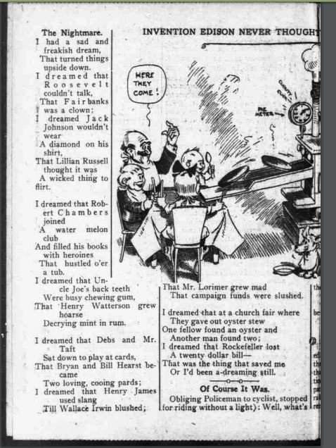 Newspaper clipping of poem featuring famous folk of 1911
