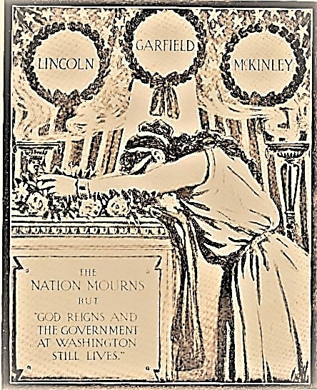 Stylized frontispiece of Columbia mourning America's fallen presidents