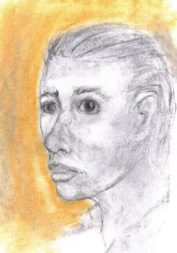 Charcoal and pastel drawing of young man feeling distressed
