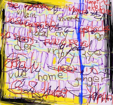 Digital drawing of abstract lines interwoven with words