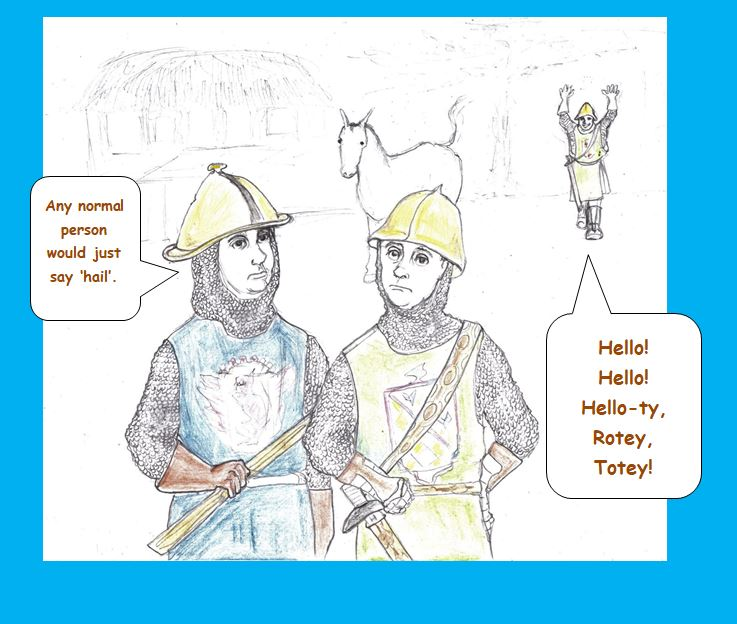 Cartoon of medieval soldiers disapproving of comrade