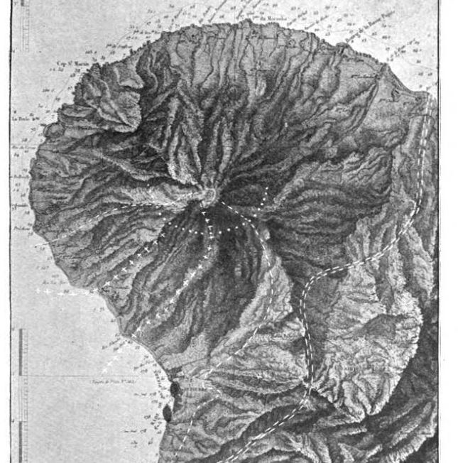 Map showing Mount Pelee volcano on island of Martinique