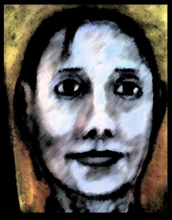 Stylized oil painting cameo of kind-faced woman