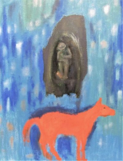 oil painting WWI soldier and orange horse art for poem When You See God